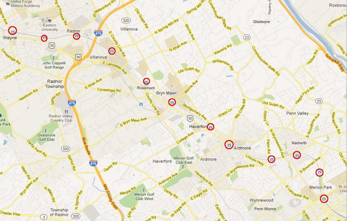 Map of Philadelphia's Main Line showing Train Stations