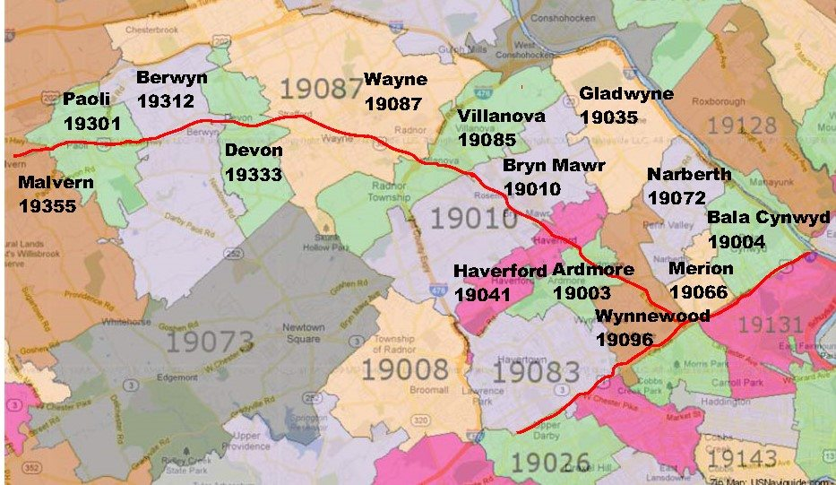 Map showing Philadelphia's Main Line Towns and the train line