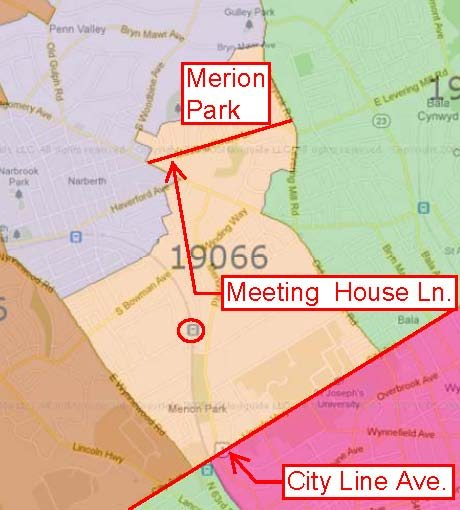 Map of Merion, PA with major roads and train station